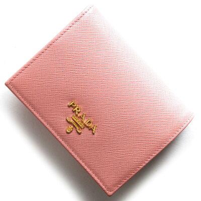 プラダ PRADA 二つ折財布 サフィアーノ メタル SAFFIANO METAL ペタロピンク 1MV204 QWA F0442 レディース