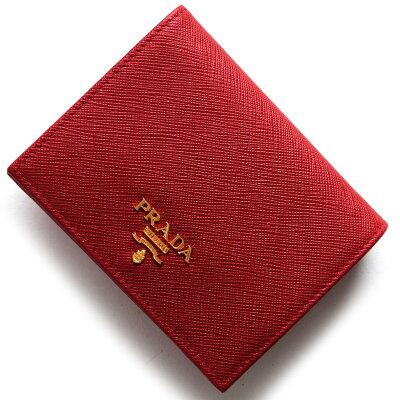 プラダ PRADA 二つ折財布 サフィアーノ メタル SAFFIANO METAL フッコレッド 1MV204 QWA F068Z レディース