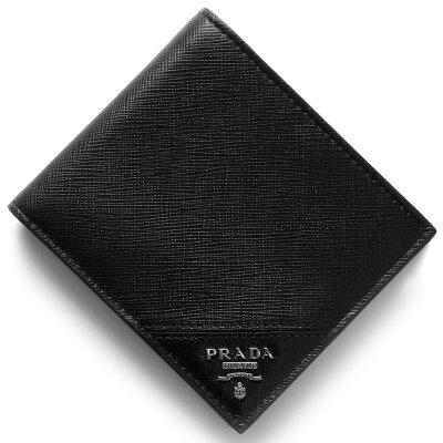 プラダ PRADA 二つ折り財布【札入れ】 サフィアーノ メタル SAFFIANO METAL ブラック 2MO513 QME F0002 メンズ