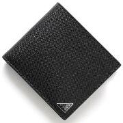 プラダ PRADA 二つ折財布 SAFFIANO CUIR B ブラック 2MO738 2E3E F0002 メンズ