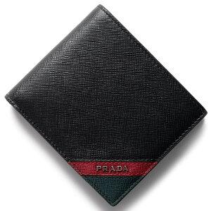 プラダ PRADA 二つ折財布 サフィアーノ ストライプ SAFFIANO STRIPE ブラック&フォーコレッド&スメアーグリーン 2MO738 2EGO F0VE3 メンズ