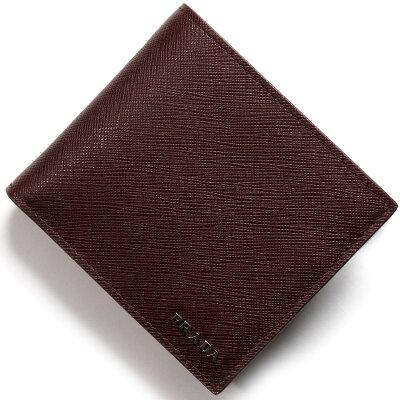 プラダ PRADA 二つ折り財布 サフィアーノ ビコロー SAFFIANO BICOLO グラナートボルドー&スリーズレッド 2MO738 C5S F0AY8 メンズ