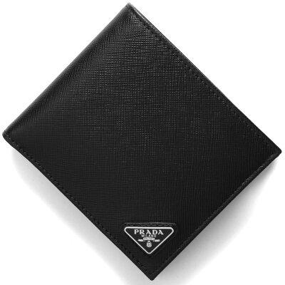 プラダ PRADA 二つ折り財布 SAFFIANO TRIANG ブラック 2MO738 QHH F0002 メンズ