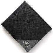 プラダ PRADA 二つ折財布 SAFFIANO METAL ブラック&マーキュリオグレー 2MO738 QME F0R8F メンズ