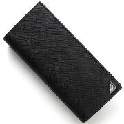 プラダ PRADA 長財布 SAFFIANO CUIR B 三角ロゴプレート ブラック 2MV836 2E3E F0002 メンズ