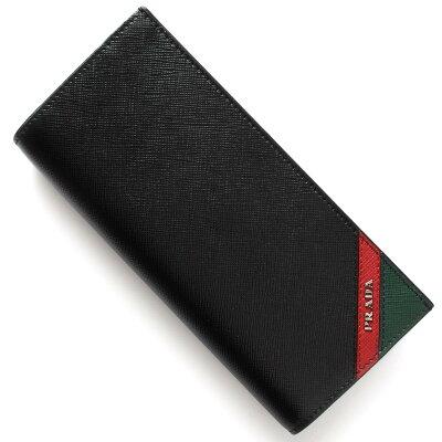 プラダ PRADA 長財布 サフィアーノ ストライプ SAFFIANO STRIPE ブラック&フォーコレッド&スメアーグリーン 2MV836 2EGO F0VE3 2017年秋冬新作 メンズ