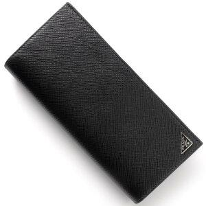 プラダ PRADA 長財布 SAFFIANO TRIANG ブラック 2MV836 QHH F0002 メンズ