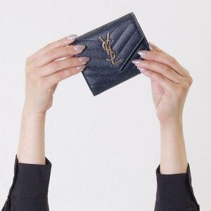 サンローランパリ イヴサンローラン 財布 三つ折り財布 財布 レディース モノグラム YSL ダークブルー 403943 BOW01 4128 SAINT LAURENT PARIS