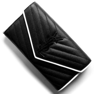 サンローランパリ 長財布 財布 レディース モノグラム YSL ブラック&ブランオプティックホワイト 372264 BOWC8 1095 SAINT LAURENT PARIS