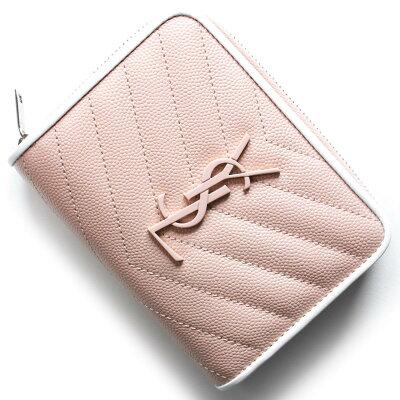 サンローランパリ 二つ折り財布 財布 レディース モノグラム MONOGRAMME YSL ライトピンク&ホワイト 403723 BOWF2 6983 SAINT LAURENT PARIS
