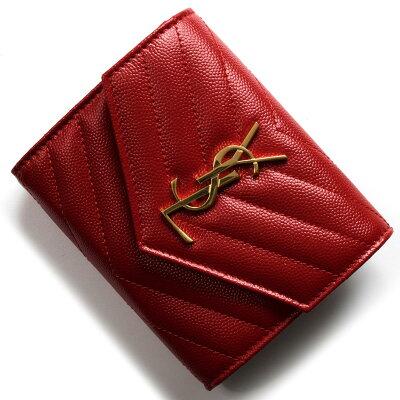 サンローランパリ 三つ折り財布 財布 レディース モノグラム YSL レッド 403943 BOW01 6805 2018年秋冬新作 SAINT LAURENT PARIS
