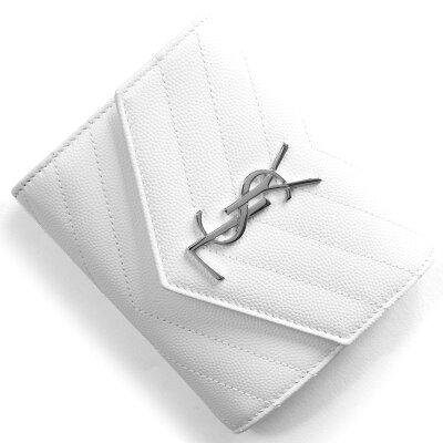 サンローランパリ 三つ折り財布 財布 レディース モノグラム MONOGRAMME YSL ブランオプティックホワイト 403943 BOW02 9011 SAINT LAURENT PARIS