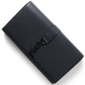 サンローランパリ SAINT LAURENT PARIS 長財布 YSL LINE ディープマリンブルー&ブラック 414567 BJ54U 4164 メンズ レディース