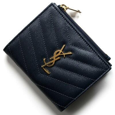 サンローランパリ イヴサンローラン 財布 二つ折り財布 財布 レディース モノグラム YSL ダークブルー 517045 BOW01 4128 SAINT LAURENT PARIS
