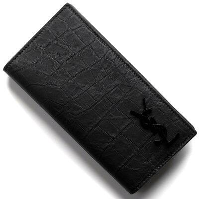 サンローランパリ イヴサンローラン 財布 長財布 財布 メンズ モノグラム クロコ型押し YSL ブラック 529981 C9H0U 1000 SAINT LAURENT PARIS
