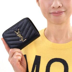 サンローランパリ 二つ折り財布 財布 レディース モノグラム MONOGRAMME YSL ブラック 403723 BOW01 1000 SAINT LAURENT PARIS