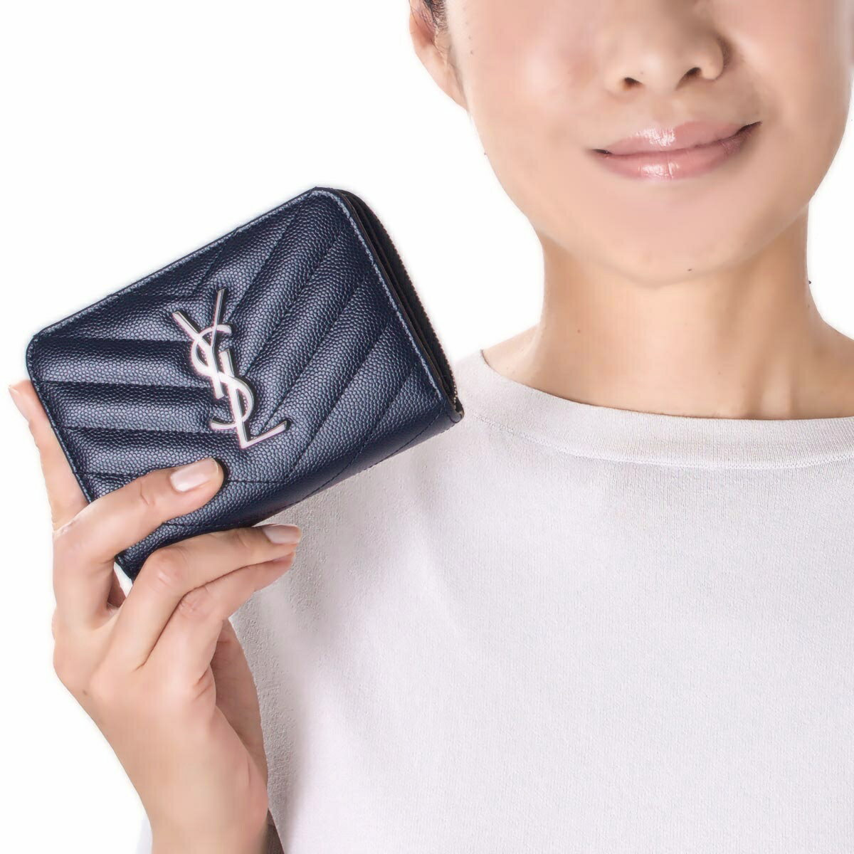 二つ折り財布 ブランオプティックホワイト&ブラック MONOGRAMME YSL レディース モノグラム サンローランパリ 財布 403723 BOWC8 9070 SAINT LAURENT PARIS