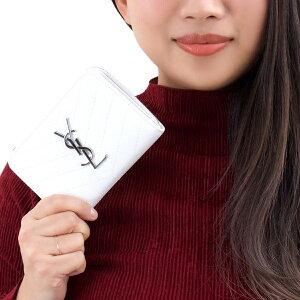 サンローランパリ 二つ折り財布 財布 レディース モノグラム MONOGRAMME YSL ブランオプティックホワイト 403723 BOW02 9011 SAINT LAURENT PARIS