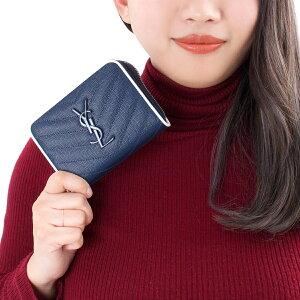 サンローランパリ 二つ折り財布 財布 レディース モノグラム MONOGRAMME YSL デニムブルー&ブランオプティックホワイト 403723 BOWF2 4769 SAINT LAURENT PARIS