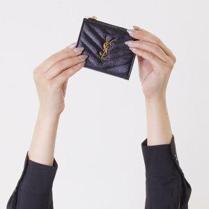 サンローランパリ イヴサンローラン 財布 二つ折り財布 財布 レディース モノグラム YSL ブラック 517045 BOW01 1000 SAINT LAURENT PARIS