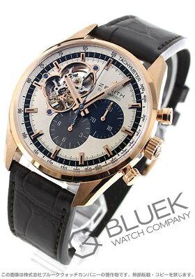 ゼニス Zenith 腕時計 エル プリメロ クロノマスター オープン RG金無垢 アリゲーターレザー メンズ 18.2040.4061/69.C494