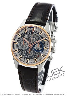 ゼニス Zenith 腕時計 エル プリメロ クロノマスター フルオープン アリゲーターレザー メンズ 51.2151.400/78.C810