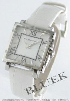Hamilton jazzmaster square diamond leather white / white shell Womens H32291914
