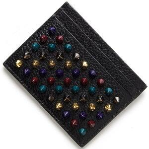 크리스챤 Louboutin 카드 케이스 Ladies Chios [KIOS] 스파이크 스터드 블랙 & 멀티 메탈 3165062 M039 CHRISTIAN LOUBOUTIN