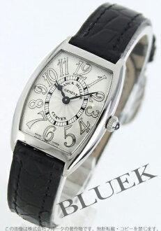 1752 Xmas sale ★ フランクミュラートノーカーベックスレリーフエナメルレザーブラック / silver Lady's black needle QZ REL