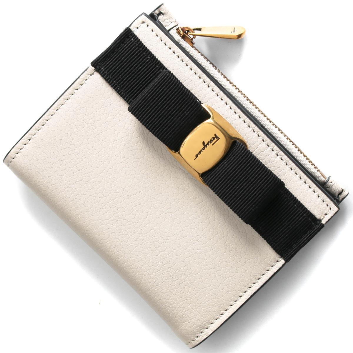 フェラガモ二つ折り財布財布レディースヴァラリボンボーンホワイト&ブラック22E009BONENERO07352672020年秋冬新作SALVATOREFERRAGAMO
