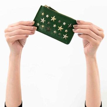 ジミーチュウ コインケース(小銭入れ) 財布 レディース ナンシー マルチ メタル スター スタッズ グラスグリーン&メタリックミックス NANCY LTR 0C7233 GRASS GREEN METALLIC MIX JIMMY CHOO