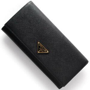 プラダ 長財布 財布 メンズ レディース SAFFIANO TRIANG 三角ロゴプレート ブラック 1MH132 QHH F0002 PRADA