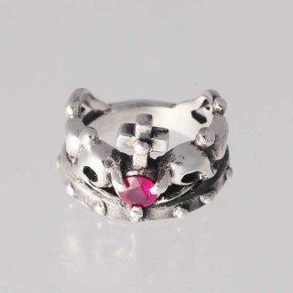 王冠的小指7月生日寶石紅寶石銀子925戒指簡單的crown