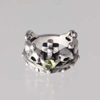 王冠的小指8月生日寶石peridottoshiruba 925戒指簡單的crown