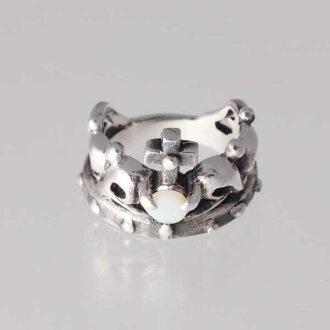 王冠的小指10月生日寶石蛋白石銀子925戒指簡單的crown