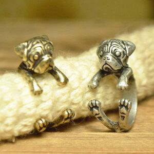 *【送料無料】アンティークテイスト♪パグリング★パグ PUG 犬 ★リング・指輪★キュートなパ…