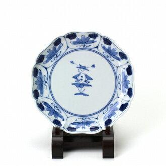 青花八方割5寸皿