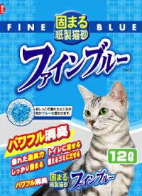 送料込価格【常陸化工】固まる紙製猫砂ファインブルーせっけんの香り13Lx4個(ケース販売)
