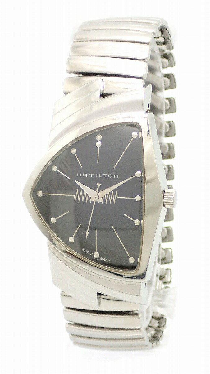 【ウォッチ】 HAMILTON ハミルトン ベンチュラ エルヴィス アニバーサリー ブラック文字盤 SS メンズ QZ 電池式 腕時計 H244810【中古】【k】【Blumin 】:Blumin