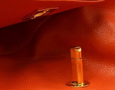 【バッグ】CHANELシャネルキャビアスキントリプルココマークリュックリュックサックショルダーバッグオレンジゴールド金具【中古】【k】【Blumin楽天市場店】