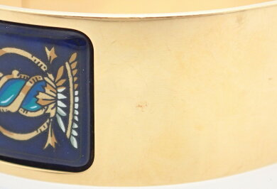【ジュエリー】HERMESエルメスバングルブレスレット七宝焼エナメル紺ネイビー系色ゴールド金具【中古】【k】【Blumin楽天市場店】