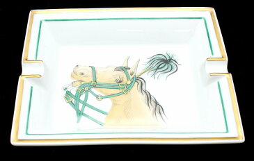 HERMES エルメス アッシュトレイ 灰皿 馬柄 ホースモチーフ ポーセリン リモージュ焼き 【中古】【k】