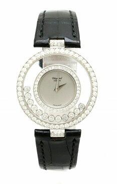 【ウォッチ】Chopard ショパール ハッピーダイヤ 12Pムービングダイヤ ダイヤベゼル K18WG ホワイトゴールド クロコ革ベルト レディース クォーツ 腕時計 21/2647 【中古】【u】