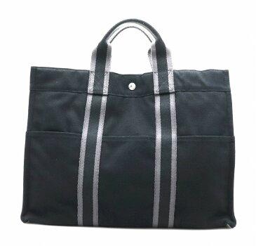 【バッグ】HERMES エルメス フールトゥMM トートバッグ キャンバス ブラック 黒 グレー 【中古】【k】