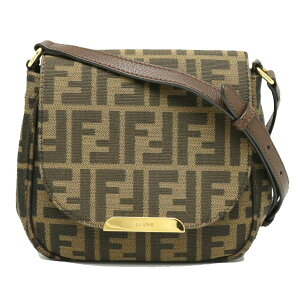 [Bag] FENDI Fendi Zucchino Zucca pattern Shoulder bag Diagonal hanging pochette leather Dark brown 8BT213-Q0M [Used]