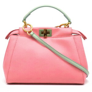 [Bag] FENDI Fendi Mini Peekaboo Handbag Shoulder bag 2WAY diagonally hung Leather Pink Mint Green Green Gold Metal fittings 8BN244 [Used]