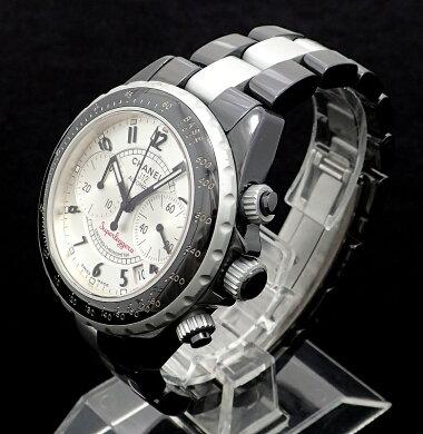 【ウォッチ】CHANELシャネルJ12スーパーレッジェーラクロノグラフデイトシルバー文字盤セラミックアルミメンズATオートマ腕時計H1624【】【k】【Blumin店】