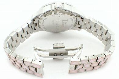 【ウォッチ】ChristianDiorクリスチャンディオールクリスタルダイヤベゼルシェル文字盤デイトレディースクォーツ腕時計CD113110【】【k】【Blumin店】