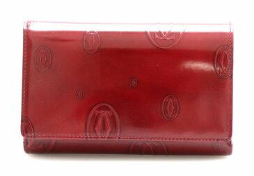 【財布】Cartier カルティエ ハッピーバースデー ハッピーバースデイ 2つ折り財布 エナメル パテントレザー ボルドー シルバー金具 L3000347 【中古】【k】