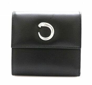 72d33d663a2b 【財布】Cartier カルティエ パンテール 3つ折財布 ボックスカーフ レザー 黒 ブラック シルバー金具 【中古】【k】